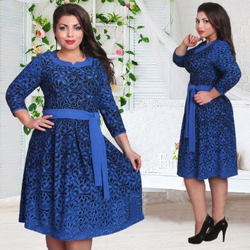 Plus size women clothing Long sleeve dress L-6XL
