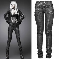 Designer Metallic Black Studded Faux Leather Steam Punk Rock Pants SKU-11404278