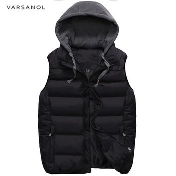 Men Vest Jacket Hooded Winter Clothes Vests For Men Cotton Outwear Sleeveless Turn-down Collar Casual Tops