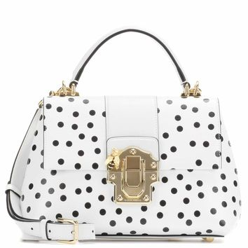 Lucia polka-dotted leather shoulder bag