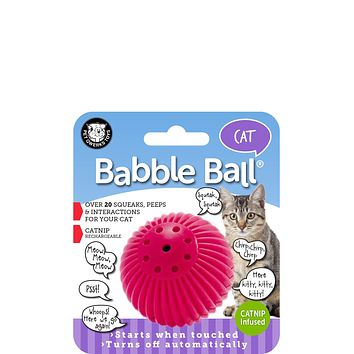 CAT Babble Ball Interactive Cat Toy, Meows and Makes Funny Sounds when Touched!