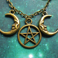 Bronze triple goddess pentacle moon necklace