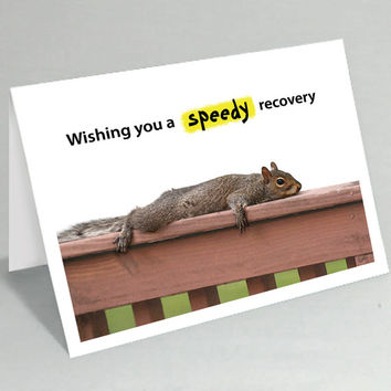 Get well card / Feel better card - Wishing you a speedy recovery squirrel greeting card - Cute card funny card