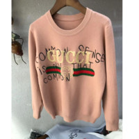 GUCCI Autumn And Winter New Fashion Letter Stripe Graffiti Leisure Women Long Sleeve Sweater Top Pink