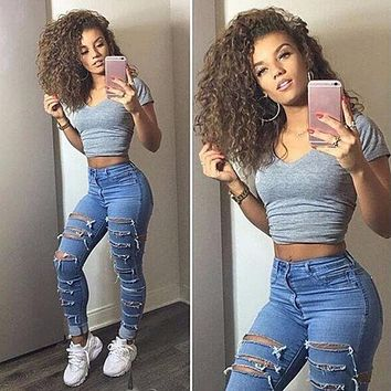 Women High Waist Jeans Ladies Ripped Pants Women Looks Slim Skinny Fashion Hole Jeans Stretch Pencil Denim Pants Women Clothes