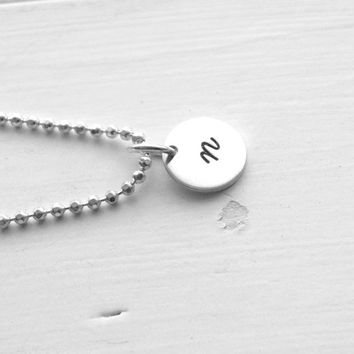 Small Initial Necklace,Sterling Silver Jewelry, All Letters Available, Letter n Necklace, Hand Stamped Jewelry, Charm Necklace, Monogram n