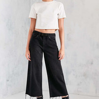 BDG Cropped Denim Culotte - Washed Black - Urban Outfitters