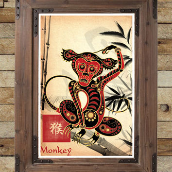 Chinese Zodiac Monkey, Asian Wall Art, Monkey Art Print, Childrens Animal  Art,