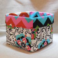 Multi-colored Floral, Scroll and Chevron Fabric Basket For Storage Or Gift Giving