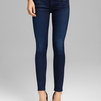 7 For All Mankind Jeans - Second Skin Slim Illusion Ankle Skinny in Dark Blue
