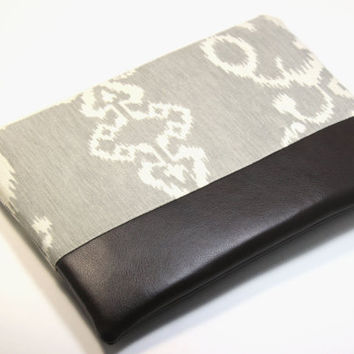 Macbook Pro Retina 13 inch Sleeve - Cotton Fabric Case with Faux Leather bottom and Zipper Closure in Grey Ikat Print
