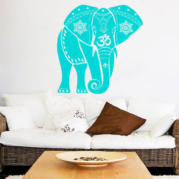 Indian Elephant Wall Decal Mandala Vinyl Stickers Safari Decals Room Decor