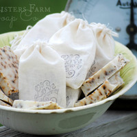 50 Rustic Wedding Soap Favors - Soap Wedding Favors - Homemade Soap - Rustic Wedding Favors - Wedding Favors Hand Stamped Muslin Goody Bags