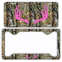 Hot Pink Antlers Camo Deer License Plate Frame Car Tag Country Hunting