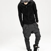 2012 Free shipping Autumn New casual pants for men,fashion cool harem pants,sweatpant,zipper pocket design black dark gray M XXL-in Pants from Apparel & Accessories on Aliexpress.com