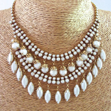Milk Glass Bib Necklace, White Dangles, Gold Tone Filigree, Vintage