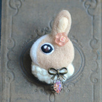 Jeweled felt rabbit brooch, handmade needle felt wool bunny pin, whimsical animal brooch, children jewelry, brown bunny, gift under 25