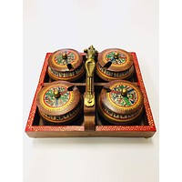 Wooden Handpainted Warli Jar Set with Tray