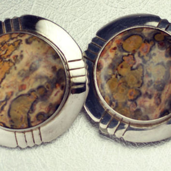Vintage Native American Navajo M Lee Sterling Silver Jasper Clip On Earrings