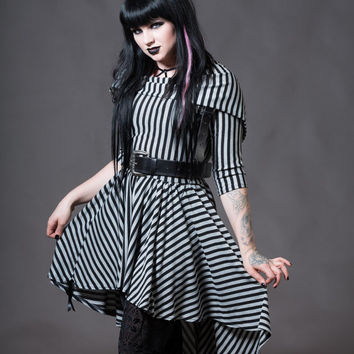 Goth Doll Striped Dress - Cowl Hooded Asymmetrical Witchy Gothic Alternative Clothing - Petite to Plussize - Custom to Order - XXS-5XL
