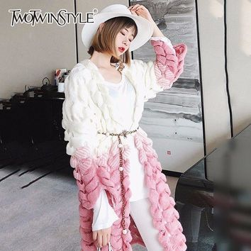 TWOTWINSTYLE Hollow Out Knitting Cardigan For Women Patchwork Oversize Long Sweater Female Autumn 2018 Fashion Korean Clothing