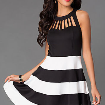 Short Striped Homecoming Dress C6H4979MXi