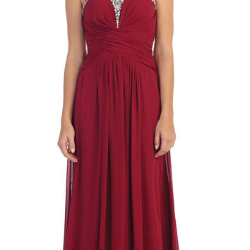 Studded Sweetheart Neck Burgundy Long A Line Prom Strapless Gown