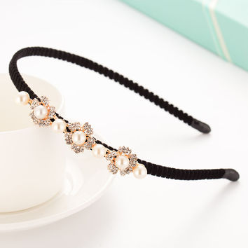 Imitation Crystal  Hair Hoop Headband Tiara Girl Headband For Women Bridal Accessories Princess Hairband Flannel Non-slip Hoops