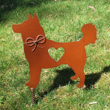 Husky Dog Metal Garden Stake - Metal Yard Art - Metal Garden Art - Pet Memorial