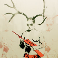 MANHUNT Antler Man Male Form 16x25 Graffiti and Pop Art Inspired Original Painting on Wood