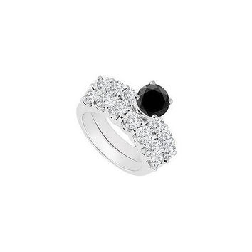 14K White Gold : Black and White Diamond Engagement Ring with Wedding Band Set 1.15 CT TDW