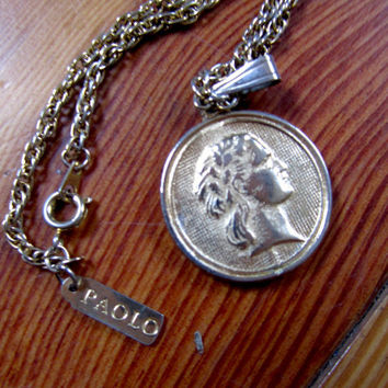 Vintage Gold PAOLO Coin Necklace, Greek/Roman Profile