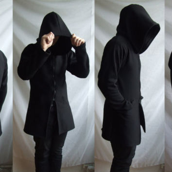 Demon Hoodie (mens coat or suit inspired hoodie  with large hood and inside pockets )