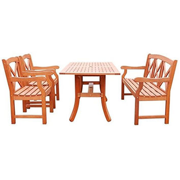 Vifah V189Set27-4-Piece Outdoor dining Set With table, 5-Foot Bench And Arm Chairs