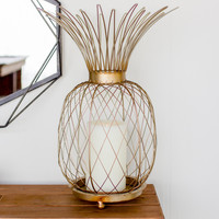 Small Metal Pineapple Candle Holder - Antique Brass Finish