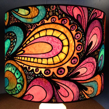Psychedelic Multi-Colour Design, Hand Silk Painted Lamp Shade, 30cm Drum, Made To Order.
