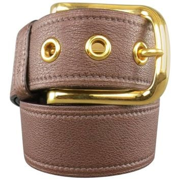 PRADA Brown 32 Leather Gold Buckle Grommet Belt