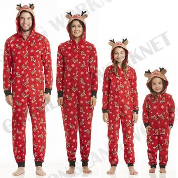 PUDCOCO Family Mums Matching Christmas Pajamas Sets Xmas Gift Sleepwear Nightwear Casual Rompers