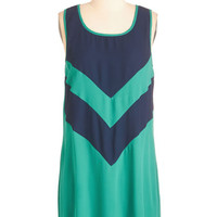 ModCloth Colorblocking Mid-length Sleeveless Shift Cute Corners Dress