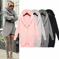 Womens Ladies Winter Casual Long Coat Woolen Warm Hooded Overcoat Top Outfits
