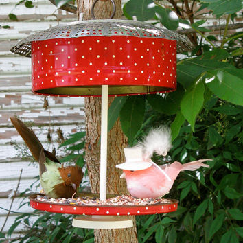Vintage Retro 1950s Red Polka Dot Candy Tin Bird Feeder Repurposed Upcycled