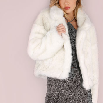 Stand Collar Open Front Faux Fur Coat WHITE | MakeMeChic.COM