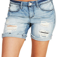 Frayed & Faded Destroyed Boyfriend Shorts | Wet Seal