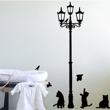 oujing New Arrival Cat Wall Sticker Lamp and Butterflies Stickers Decor Decals for Walls vinyl Removable Decal wall Murals