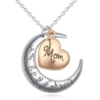 Cute Mother's Day English Letter Heart Pendant Necklace For Women