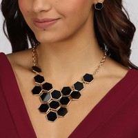 Sale-black Hexagon Statement Necklace Set