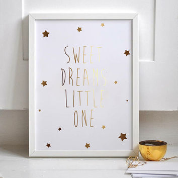 "Gold Foil Poster ""Sweet Dreams Little One"", Gold Foil, Typography, Kids Wall Art, Nursery Room Poster, Kids Room Decor, Kids Room Poster."