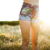 Tie-Dyed High Waisted Shorts