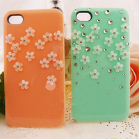 handmade iphone 4 case, iphone 4s cases iphone cover skin iphone 5 case - flowers crystal iphone 4 cases