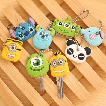 CREYHY3 Car StylingHigh quality free shipping Kawaii Cartoon Animal Silicone Key Caps Covers Keys Keychain Case Shell Novelty Item KCS